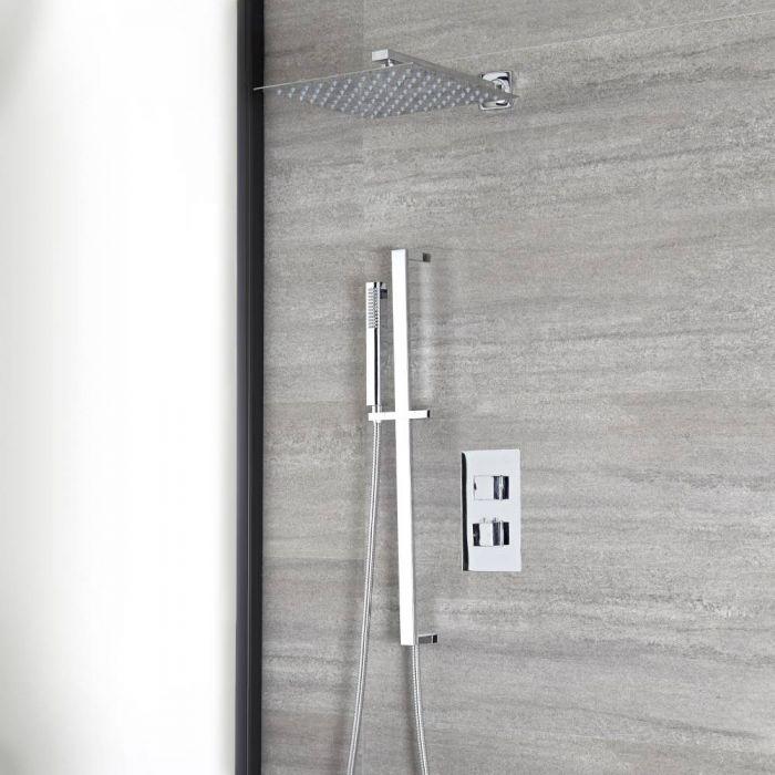 Kit de douche thermostatique avec inverseur - Pommeau carré 30 cm – Kit douchette sur rampe – Chromé - Kubix