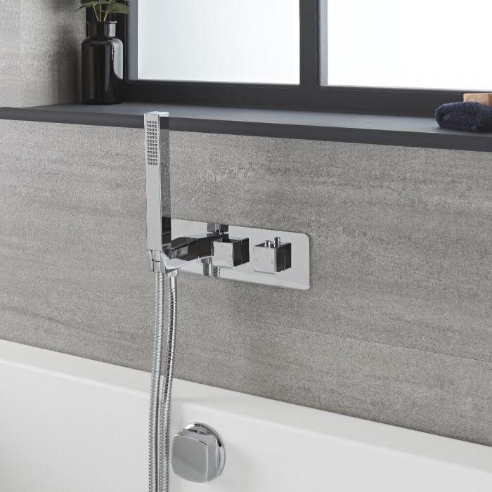 Kit de douche thermostatique avec inverseur, vidage-remplissage baignoire et douchette – Chromé - Kubix