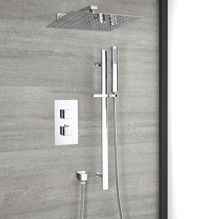 Kit de douche thermostatique avec inverseur – Pommeau et kit douchette sur rampe – 2 fonctions – Chromé - Kubix