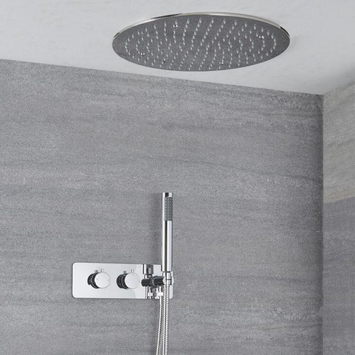 Kit de douche thermostatique avec inverseur, pommeau encastré et douchette – 2 fonctions – Chromé - Como