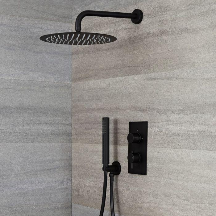 Kit de douche thermostatique avec mitigeur avec inverseur, pommeau rond et douchette – 2 fonctions – Noir - Nox