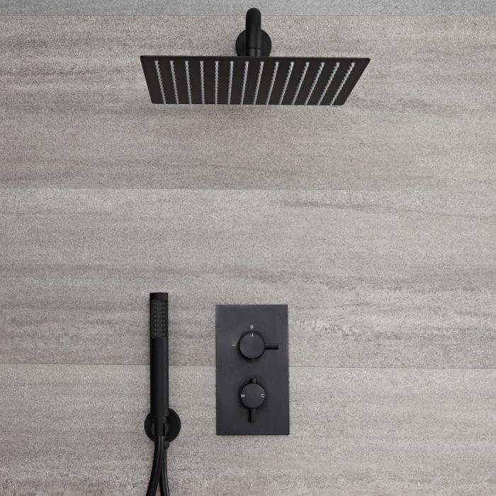 Kit de douche thermostatique avec inverseur, pommeau carré et douchette – 2 fonctions – Noir – Nox