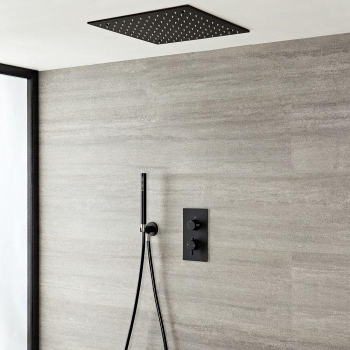 Mitigeur de douche encastré avec pommeau de douche encastré 40 cm et douchette - Nox