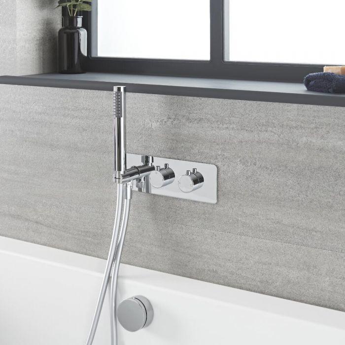 Kit de douche thermostatique avec inverseur, vidage-remplissage baignoire et douchette – Chromé - Como
