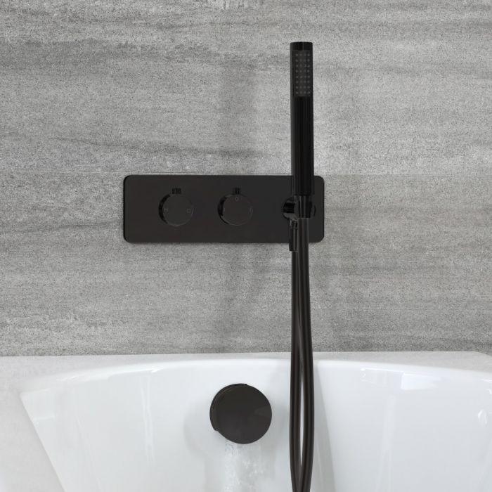 Kit de douche thermostatique avec inverseur, vidage-remplissage baignoire et douchette – Noir - Nox