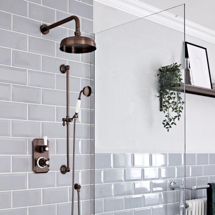 Kit de douche thermostatique à 2 fonctions avec inverseur - Pommeau de douche Ø20 cm et kit douchette – Bronze huilé - Elizabeth