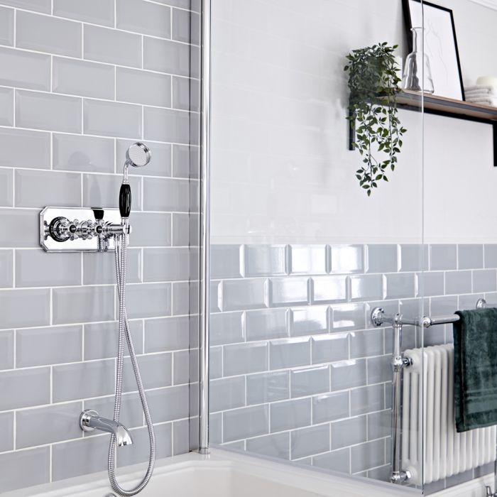 Kit de douche thermostatique à deux fonctions avec inverseur – Douchette – Bec verseur baignoire – Chromé et noir - Elizabeth