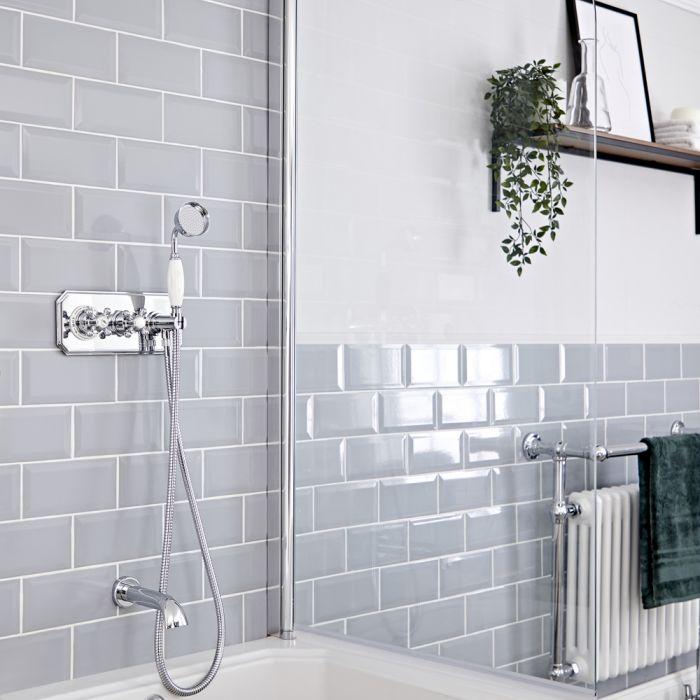 Kit de douche thermostatique 2 fonctions - Douchette et bec verseur baignoire – Chromé et blanc - Elizabeth