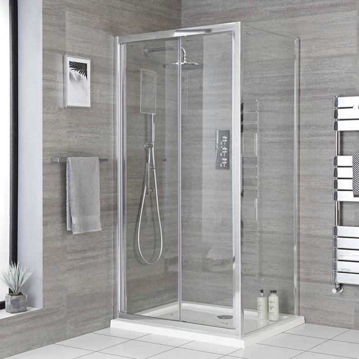 Porte de douche pliante avec paroi de retour en option – Tailles multiples - Portland