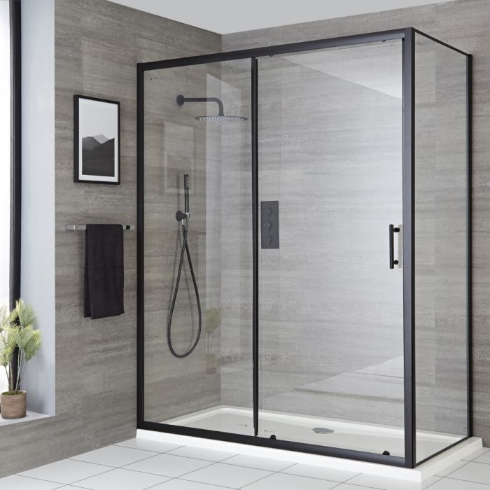 Porte de douche coulissante – Noir – Choix de tailles - Nox