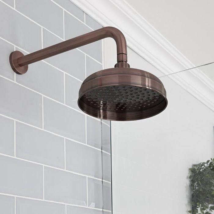 Pommeau de douche Ø 20 cm avec bras mural – Bronze huilé - Elizabeth