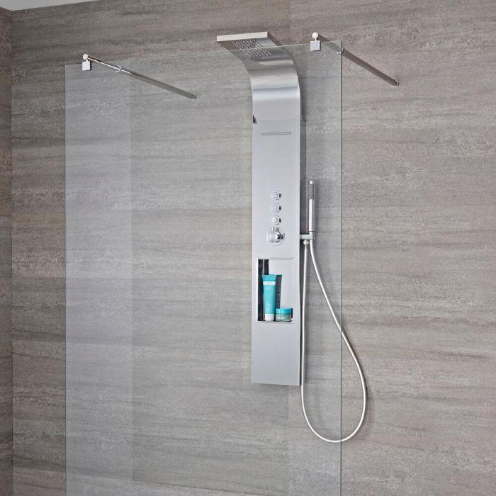Colonne de douche thermostatique exposée avec étagère, grand pommeau et douchette – Chromé – Vista