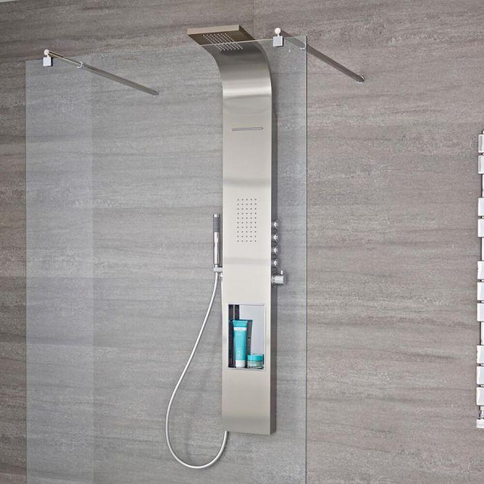 Colonne de douche thermostatique exposée avec étagère, grand pommeau cascade, douchette et buse hydromassante – Chromé – Vista