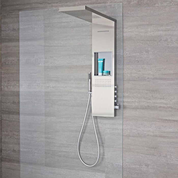 Colonne de douche exposée avec étagère intégrée, pommeau pour douche italienne, douchette et buse hydromassante – Acier brossé –  Iko