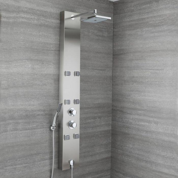 Colonne de douche thermostatique exposée avec pommeau, 6 buses hydromassantes et douchette – Easton
