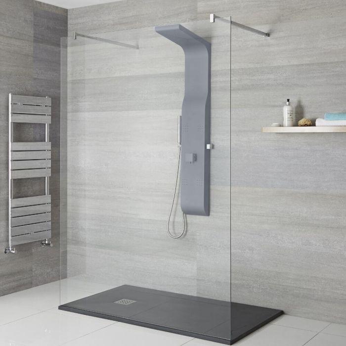Colonne de douche exposée avec pommeau, douchette et buses hydromassantes – Anthracite - Alston