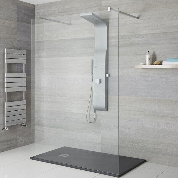 Colonne de douche exposée avec pommeau, douchette et buses hydromassantes – Argent mat - Alston