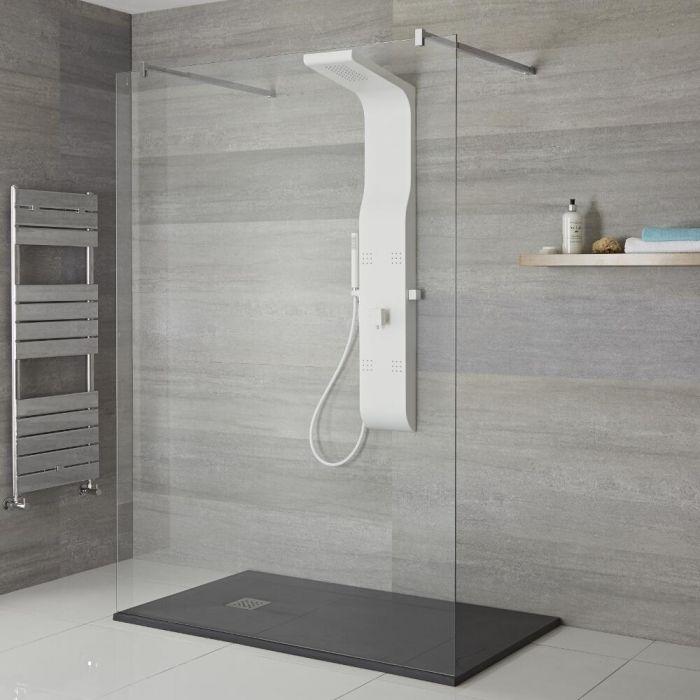 Colonne de douche exposée avec pommeau, douchette et buses hydromassantes – Blanc - Alston