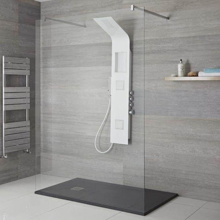 Colonne de douche exposée moderne avec étagère, pommeau, douchette et buses hydromassantes – Blanc - Stamford