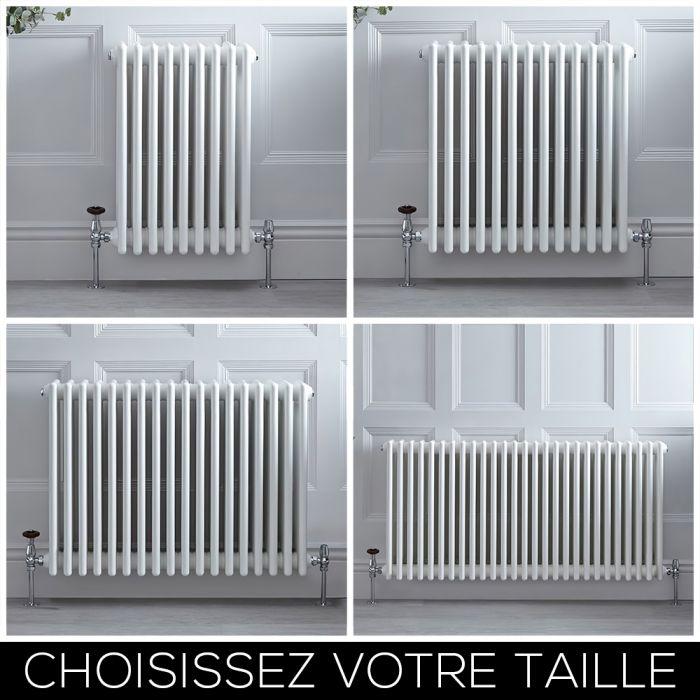 Radiateur style fonte horizontal – Blanc – Quatre rangs – Choix de tailles - Stelrad Regal par Hudson Reed