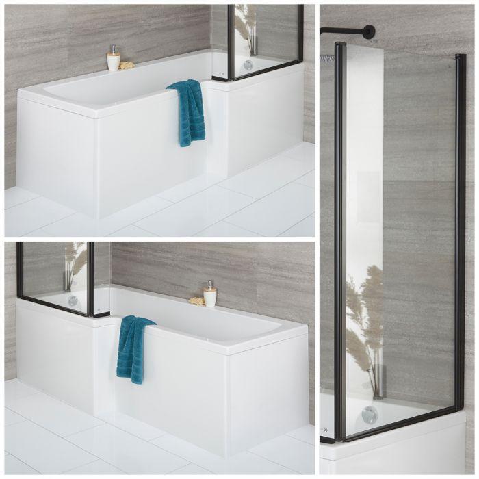 Baignoire asymétrique avec pare baignoire noir et tablier frontal – Options d'angle gauche ou droit – Sandford