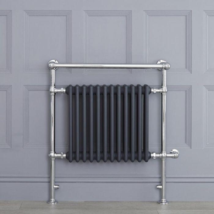 Sèche-serviettes électrique rétro - Anthracite & Chrome - 93cm x 79cm x 23cm - Elizabeth