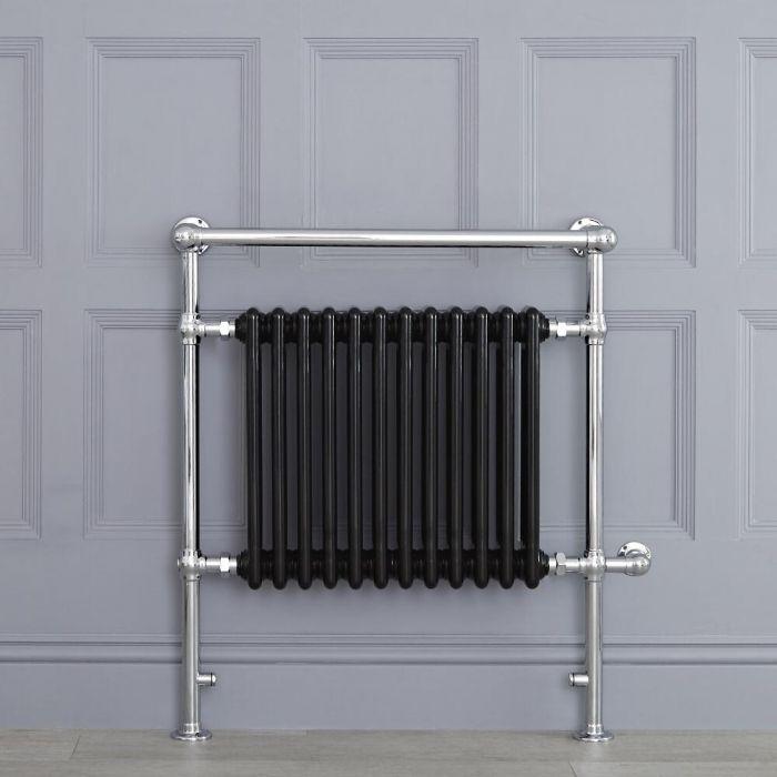 Sèche-serviettes électrique rétro - Noir & Chrome - 93cm x 79cm x 23cm - Elizabeth