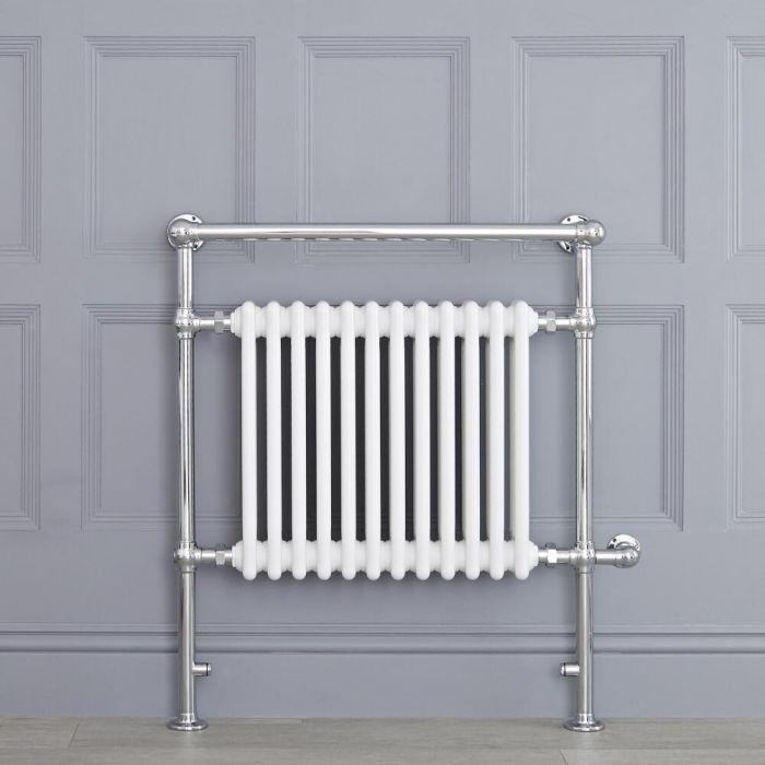 Sèche-serviettes électrique rétro - Blanc & Chrome - 93cm x 79cm x 23cm - Elizabeth