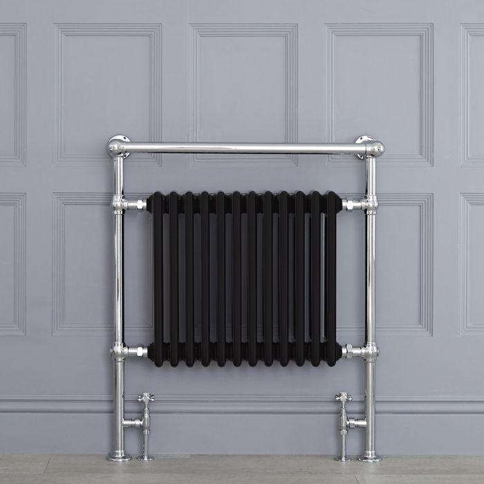 Sèche-serviettes rétro – Noir – 93 cm x 79 cm – Barre déportée - Elizabeth