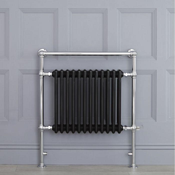 Sèche-serviettes électrique rétro - Noir & Chrome - 93 x 79 x 15.5cm - Elizabeth