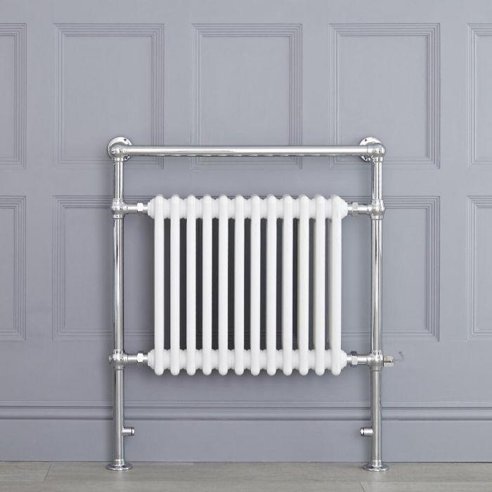 Sèche-serviettes électrique rétro - Blanc & Chrome - 93cm x 79cm x 15,5cm - Elizabeth