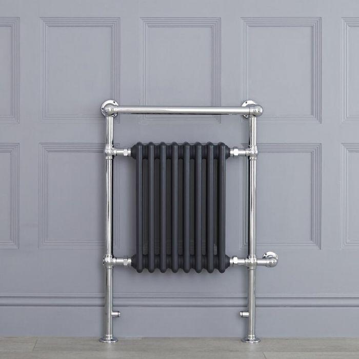 Sèche-serviettes électrique rétro - Anthracite & Chrome - 93cm x 62cm x 23cm - Elizabeth
