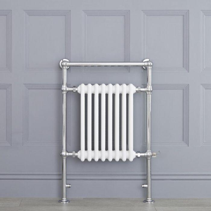 Sèche-serviettes électrique rétro - Blanc & Chrome - 93 x 62 x 15,5cm - Elizabeth