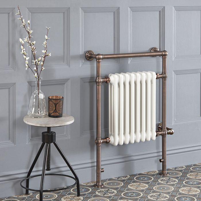 Sèche-serviettes électrique rétro – 93 cm x 62 cm – Bronze huilé – Elizabeth