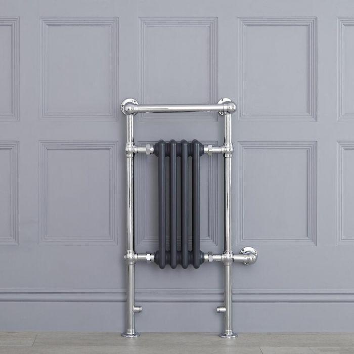 Sèche-serviettes électrique rétro - Anthracite & Chrome - 93cm x 45cm x 23cm - Elizabeth