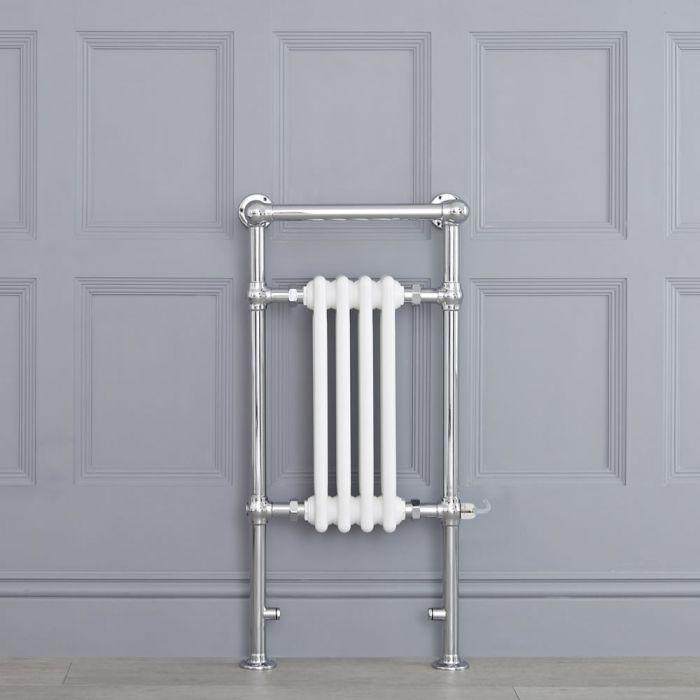 Sèche-serviettes électrique rétro - Blanc & Chrome - 93cm x 45cm x 23cm - Elizabeth