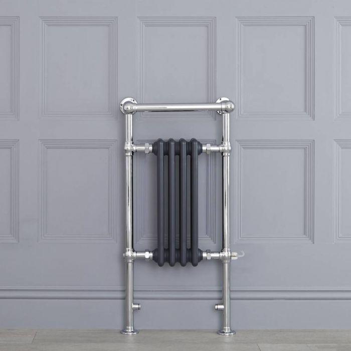 Sèche-serviettes électrique rétro - Anthracite & Chrome - 93cm x 45cm x 15,5cm - Elizabeth