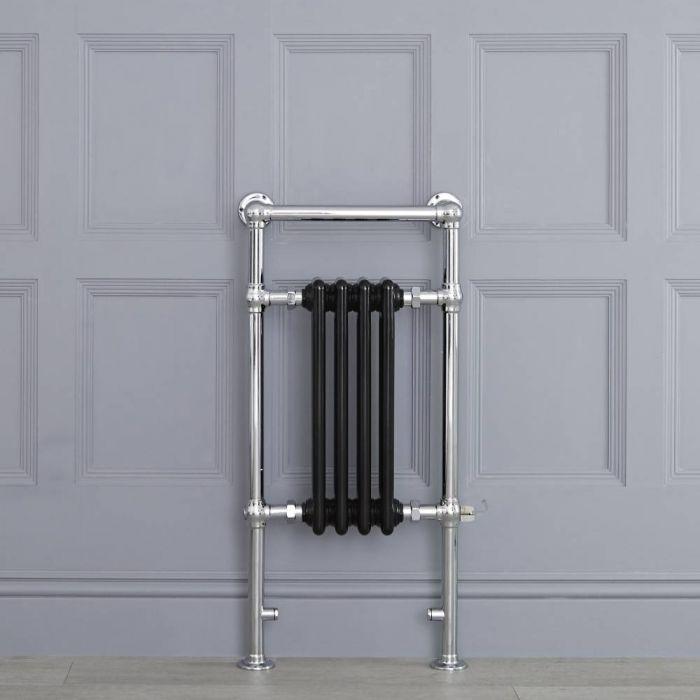 Sèche-serviettes électrique rétro - Noir & Chrome - 93cm x 45cm x 15,5cm - Elizabeth