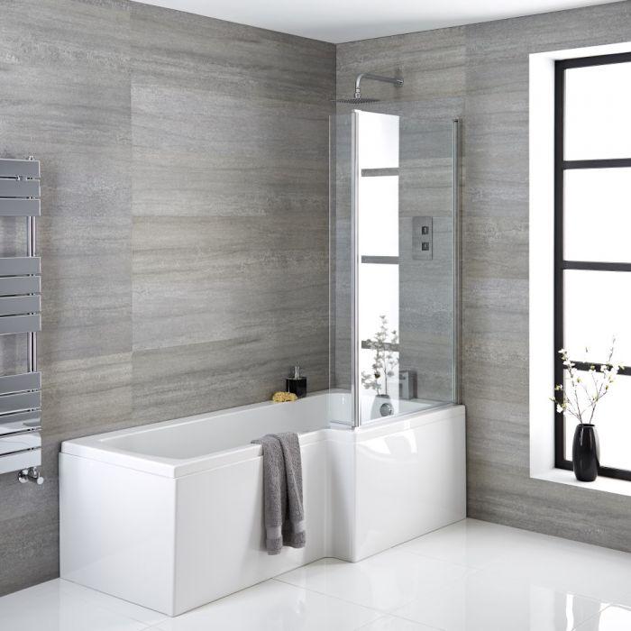 Baignoire asymétrique d'angle droit – 170 cm x 85 cm – Choix de tabliers, pare-baignoire et bonde – Sandford