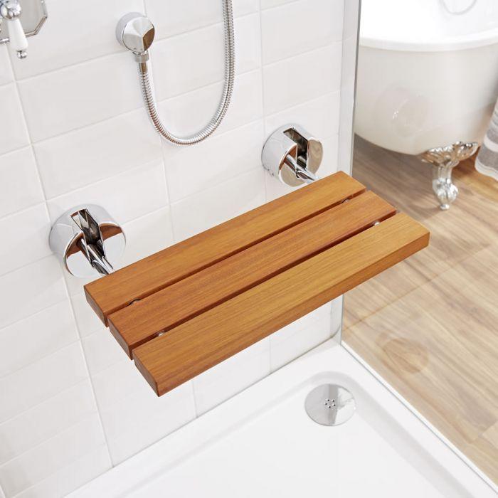 Siège de douche mural pliant avec supports chromé – Teck - Select