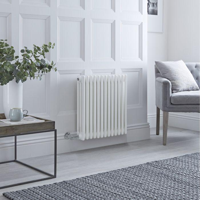 Radiateur électrique horizontal - Style fonte - Blanc - 60cm x 61cm x 10cm - Choix de thermostat Wi-Fi - Windsor