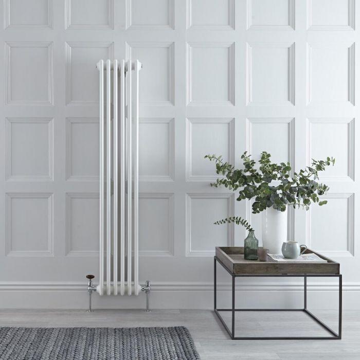 Radiateur vertical style fonte – Blanc – 150 cm x 20 cm – Triple rangs – Windsor