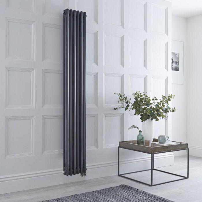 Radiateur électrique vertical style fonte triple rang – Anthracite – 180 cm x 29 cm - Windsor
