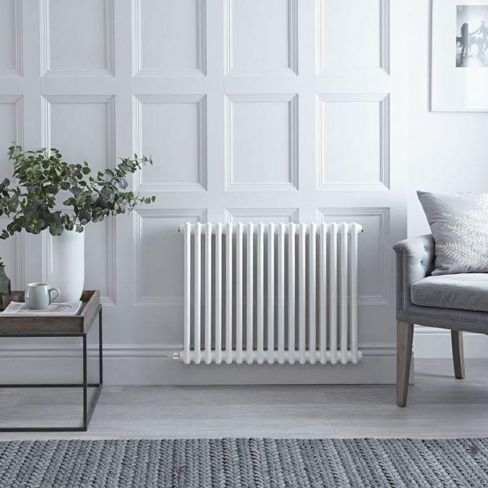 Radiateur électrique horizontal - Style fonte - Blanc - 60cm x 79cm x 6,8cm - Choix de thermostat Wi-Fi - Windsor