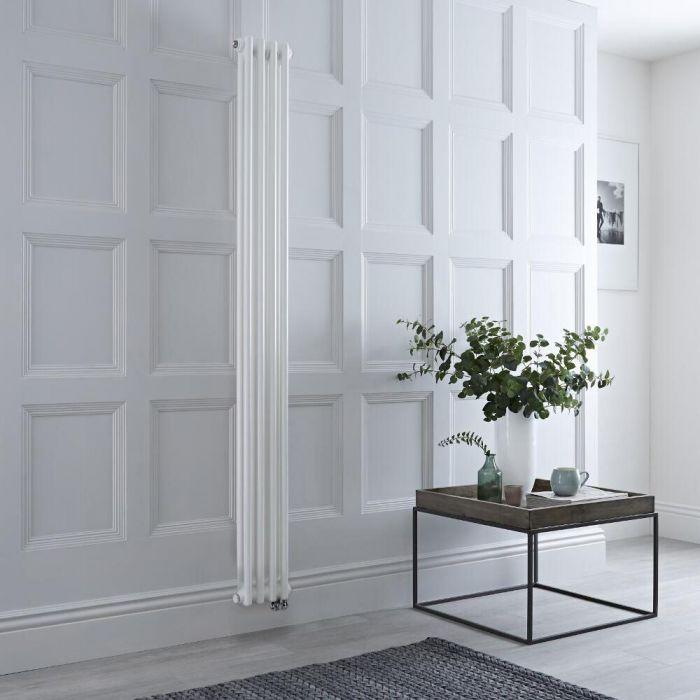 Radiateur électrique vertical style fonte double rang – Blanc – 150 cm x 20 cm - Windsor