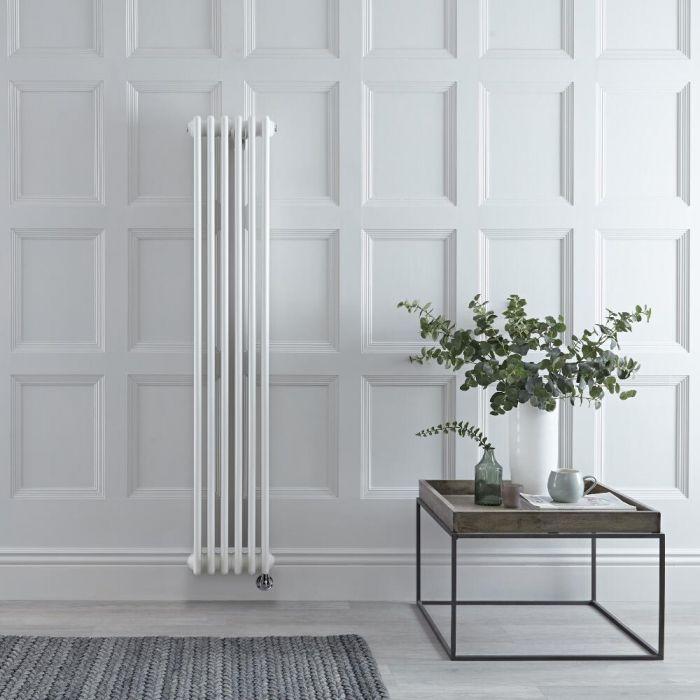 Radiateur électrique vertical style fonte double rang – Blanc – 150 cm x 29 cm - Windsor