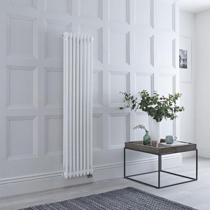 Radiateur électrique vertical style fonte double rang – Blanc – 150 cm x 38 cm - Windsor