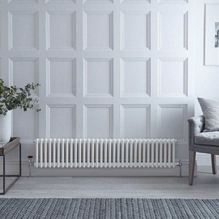 Radiateur style fonte horizontal – Blanc – 30 cm x 150,5 cm – Double rangs – Windsor