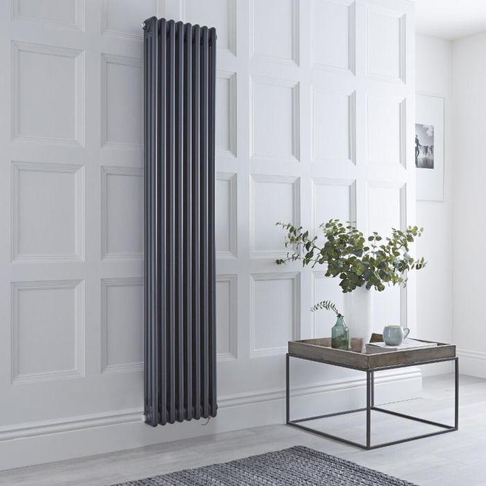 Radiateur électrique vertical style fonte triple rang – Anthracite – 180 cm x 38 cm - Windsor
