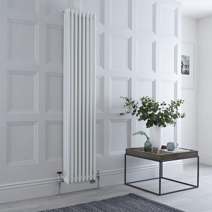 Radiateur mixte vertical style fonte – Blanc – 180 cm x 38 cm – Triple rangs – Choix de robinets et de thermostat Wi-Fi - Windsor